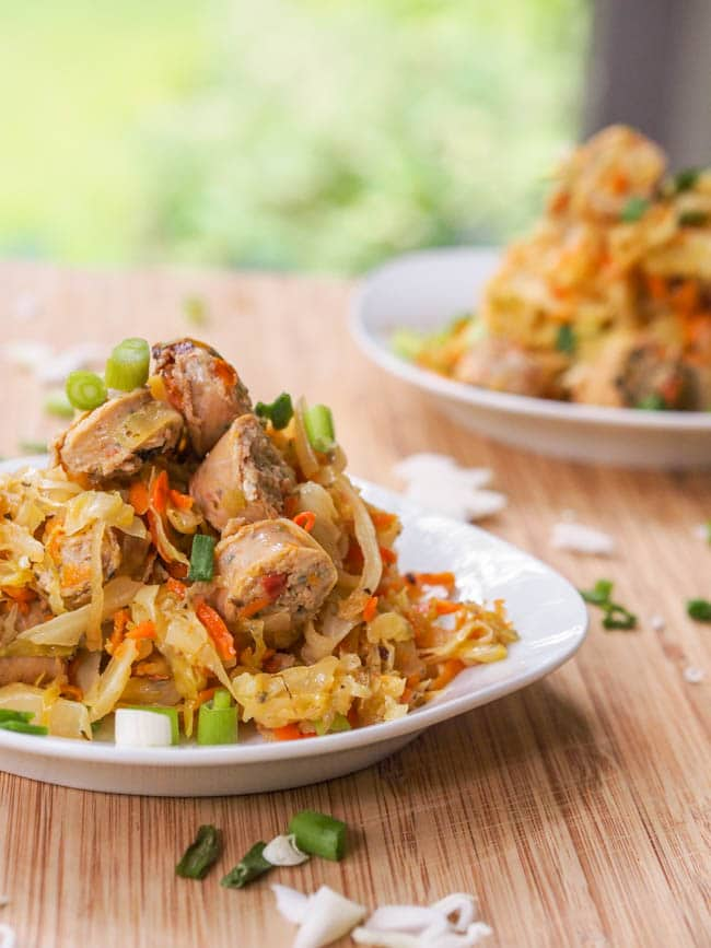Chicken and cabbage stir fry with carrots