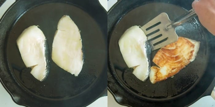 Searing chilean sea bass in a cast iron skillet