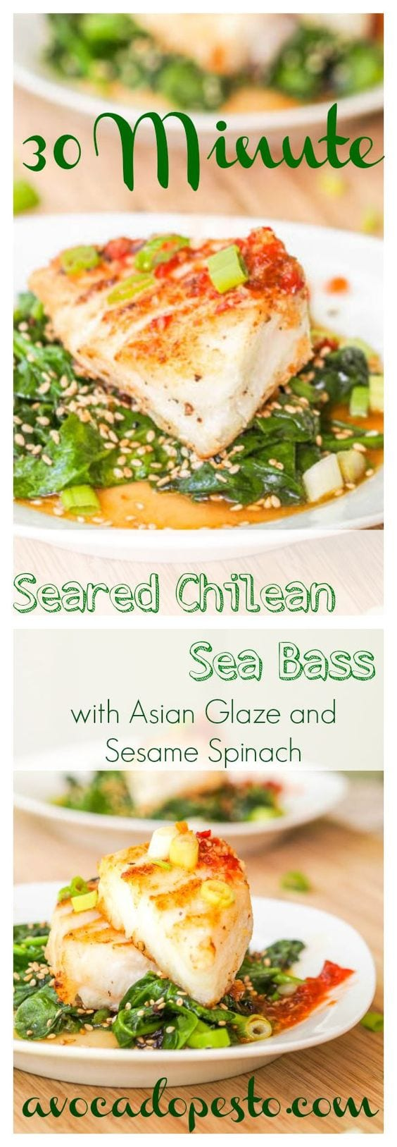 Hands down the most impressive fish recipe I have ever made. 30 minute Seared Chilean sea bass fillets served atop lightly wilted sesame spinach and drizzled with a Vietnamese inspired sweet, sour, spicy, salty glaze. You will be amazed how easy it is to prepare a 5 star meal. Gluten Free and Dairy Free. #fish #dinner #seafood #healthy #asian #glutenfree