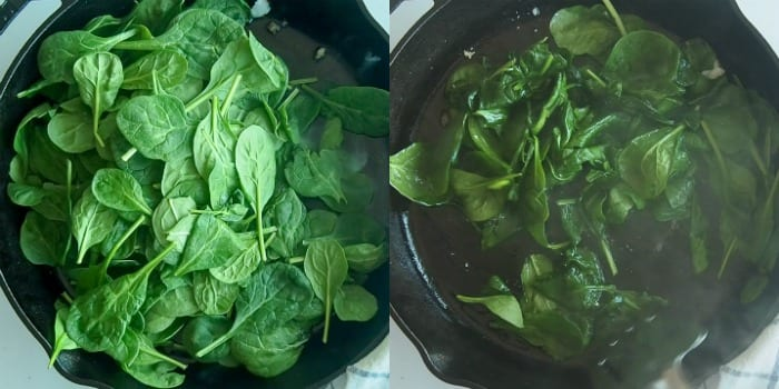 cooking spinach down in a cast iron skillet