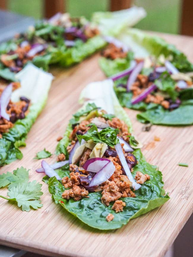 Turkey Taco Lettuce Wraps with ground chicken and veggies