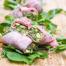 Smoked Ham Rolls Up with Avocado Pesto Recipe GF