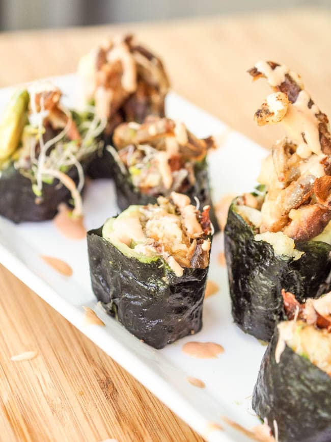 Soft Shell Crab Sushi Rolls on a platter ready to eat