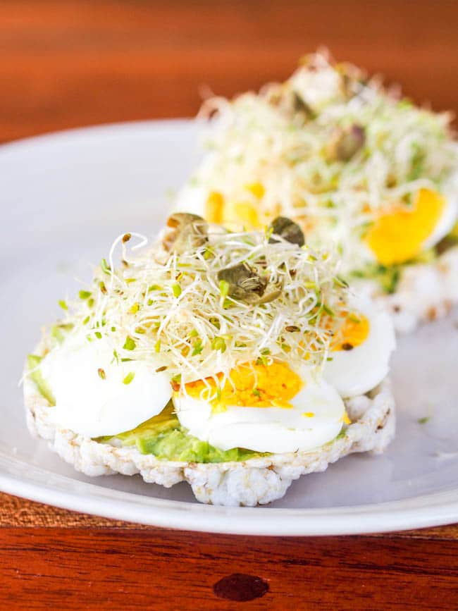 Avocado and Egg on Rice Cake Toasts