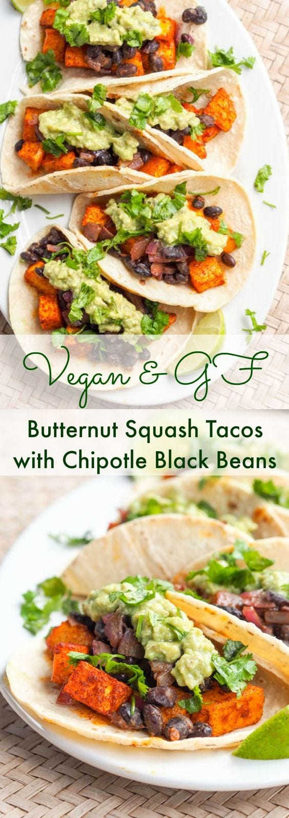 Vegan butternut squash tacos with chipotle black beans are bound to be your new favorite meal. Creamy and smoky roasted squash paired with spicy black beans, crunchy red onions, citrusy lime juice, and creamy avocado crema, all wrapped up in a small soft corn tortilla. Gluten free too. #tacos #mexican #vegan #cincodemayo #healthy