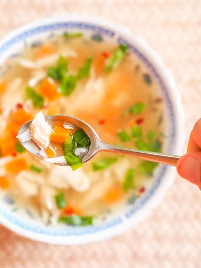 Ready to eat easy Chicken and Rice Soup {Dairy-Free}
