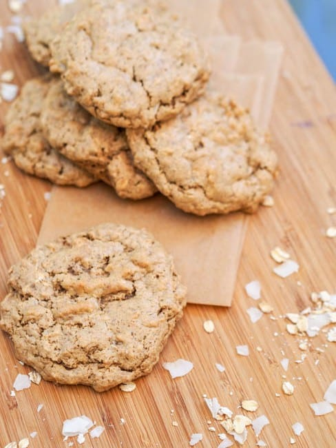Gluten Free Almond Butter Oatmeal Cookies with Coconut