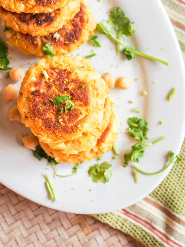 Overhead shot of canned salmon cakes