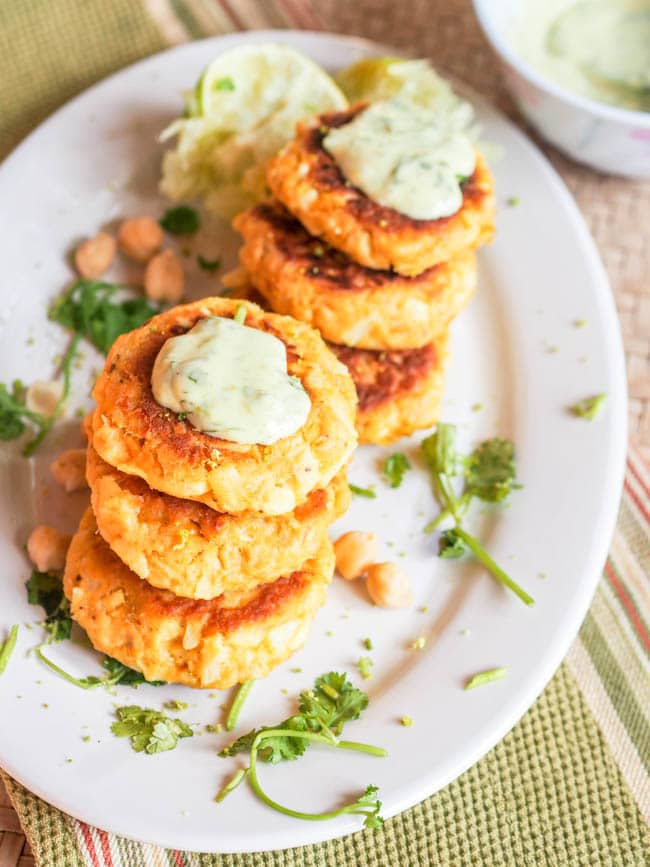 Canned salmon cakes topped with aioli