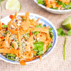 Vegan Asian Noodles with Carrots and Tahini Sauce {GF}