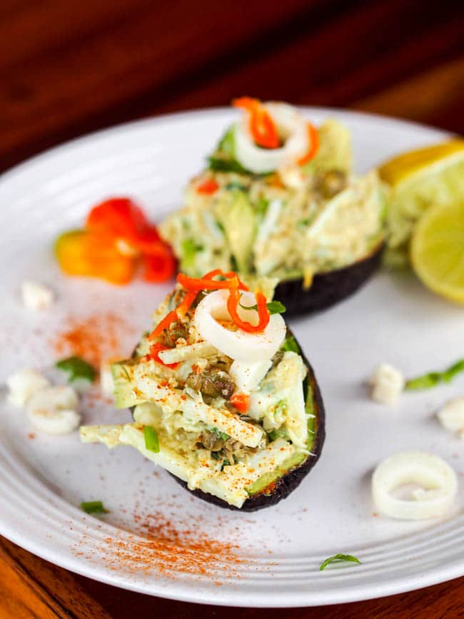 Stuffed avocado with quinoa hearts of palm salad, vegan and gluten free recipe