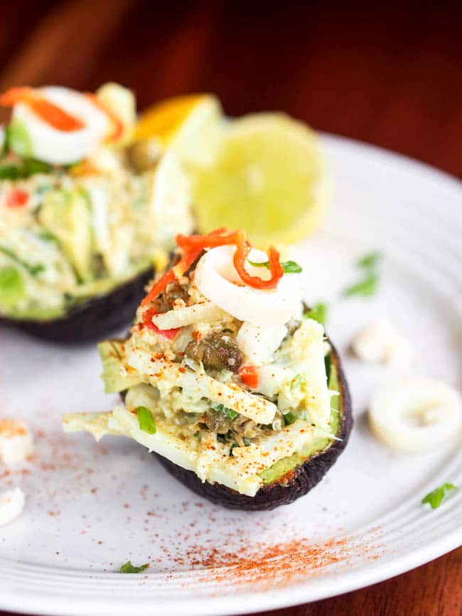 Stuffed avocado with quinoa hearts of palm salad ready to eat
