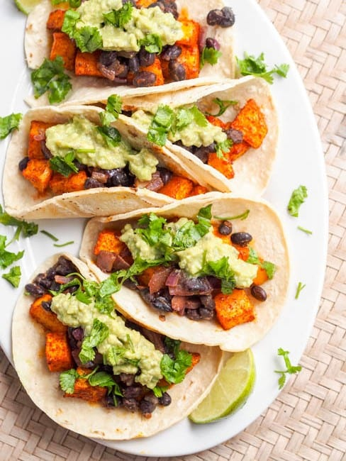 Vegan butternut squash tacos with chipotle black beans