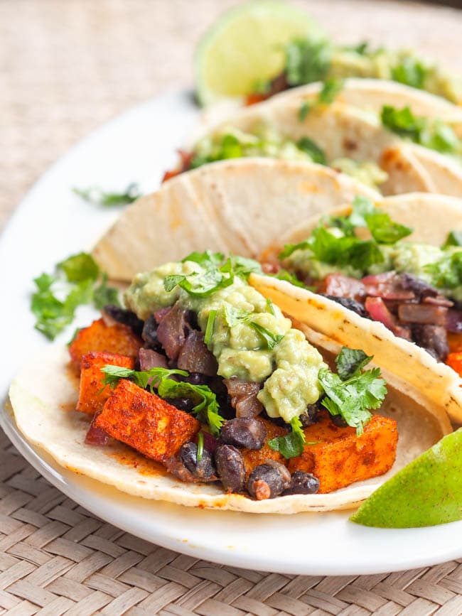 Vegan Butternut Squash Tacos with Chipotle Smoky Black Beans and Avocado Crema