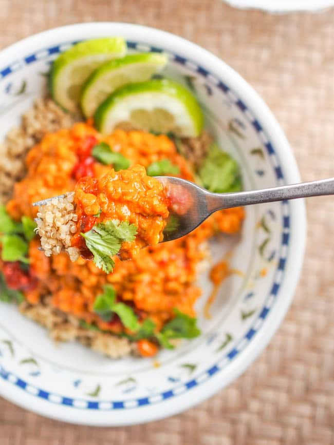 Vegan Lentil Curry on a fork ready to eat