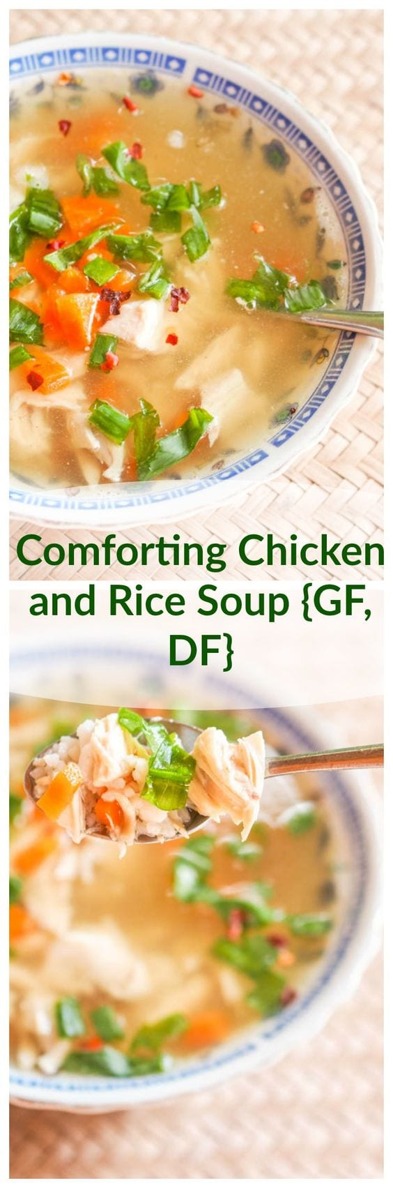 This Chicken and rice soup all starts from a fragrant and flavorful home made chicken broth. That is the star of this recipe and what turns this simple soup into your new favorite comfort meal. Gluten Free and Dairy Free. #soup #chickensoup #glutenfree #dairyfree #Lunch #dinner #healthy