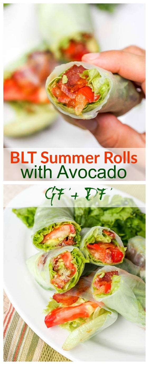 The classic BLT reconstructed and offered in new form -- BLT Lettuce Wraps with Avocado wrapped up in rice paper wrappers for easy eating. Low Carb - NO bread needed! - these are made with only six ingredients and 30 minutes and make for the perfect appetizer, lunch or light dinner. No bread to distract you from the full flavors of the real stars in the standard sandwich. Low carb, paleo, dairy free and gluten free. #BLT #lowcarb #lettucwraps #bacon #lunch #appetizer