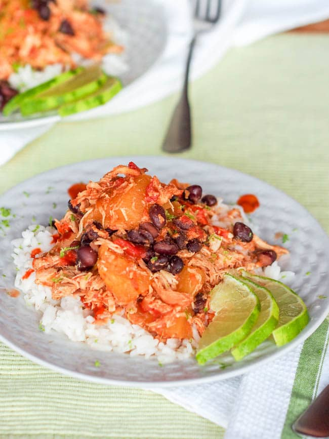 slow cooker pineapple chicken served over rice