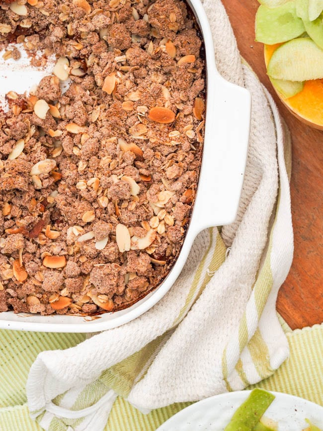 Healthy Apple Crisp In the baking pan