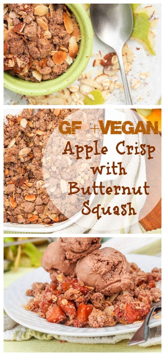 Spice up a traditional gluten free apple crisp by making it vegan and healthier with the addition of butternut squash! Topped with a delicate crumble of oats, brown sugar, cocoa powder, almonds and olive oil. The ultimate Thanksgiving dessert! #ad #BRMHolidays #CleverGirls #healthy #apples #dessert