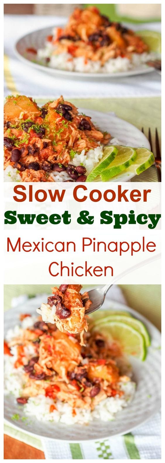 Only six key ingredients and a handful of spices required for this one pot low fuss slow cooker spicy Mexican pineapple chicken. The perfect balance of sweet and spicy all at once with tender shredded chicken and hearty black beans. Gluten Free and Dairy Free too. #slowcooker #mexican #chicken #healthy #dinner