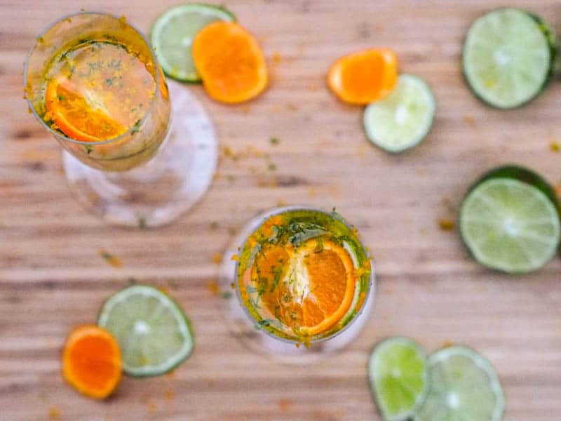 Prosecco Mimosas with Clementines and Garnished with Lime Zest