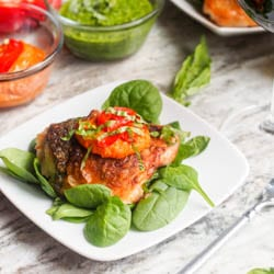 Holiday Broiled Chicken with Pesto and Romesco Sauce