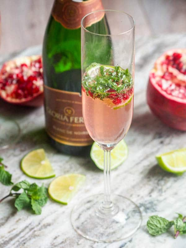 Holiday Pomegranate Lime Mint Cocktail