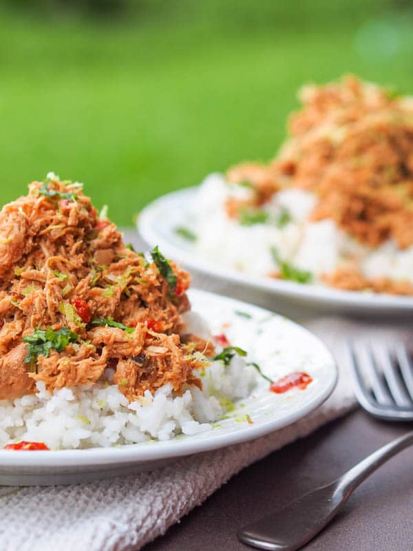 Slow Cooker Asian Chicken Recipe served over rice