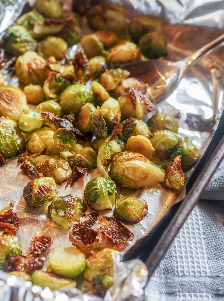 Roasted Pesto Brussel Sprouts on a baking tray