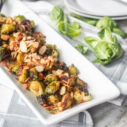 Vegan Roasted Pesto Brussels Sprouts {Gluten-Free}
