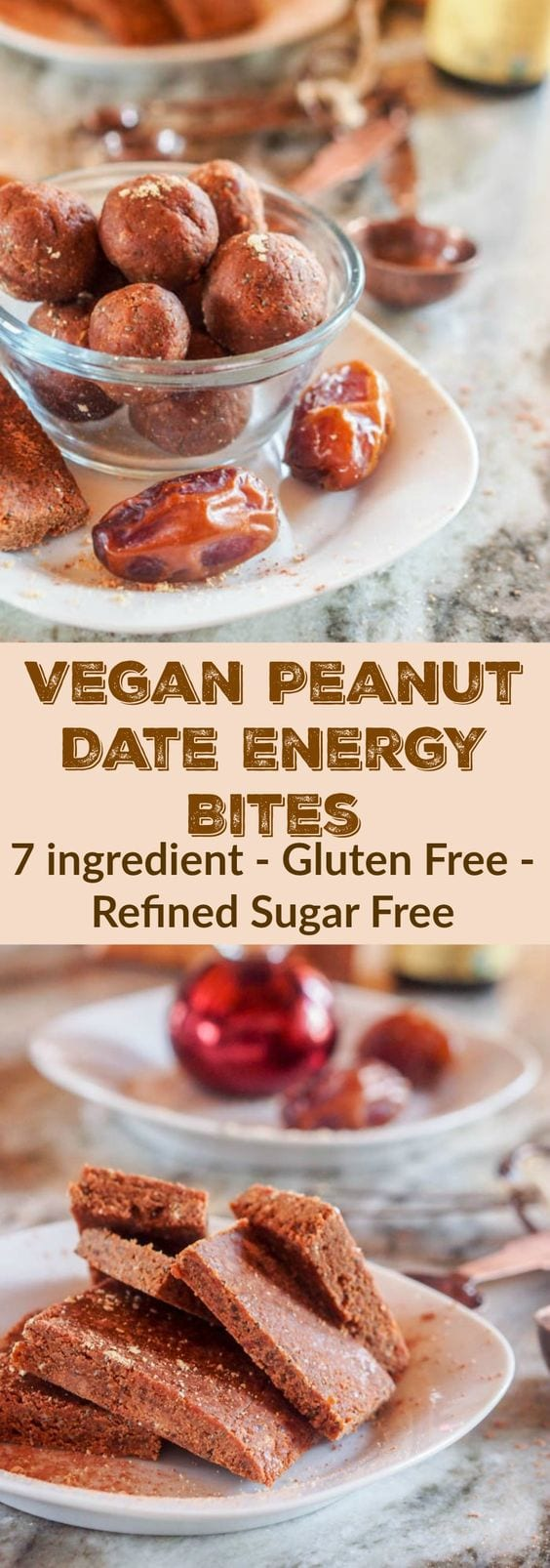 7 ingredient vegan peanut date energy bites that are also gluten-free, sugar-free and packed full of delicious hearty ingredients! Under 100 calories per ball with 2.5 grams of protein! #dessert #snack #peanutbutter #StartWithJifPowder #CollectiveBias #ad