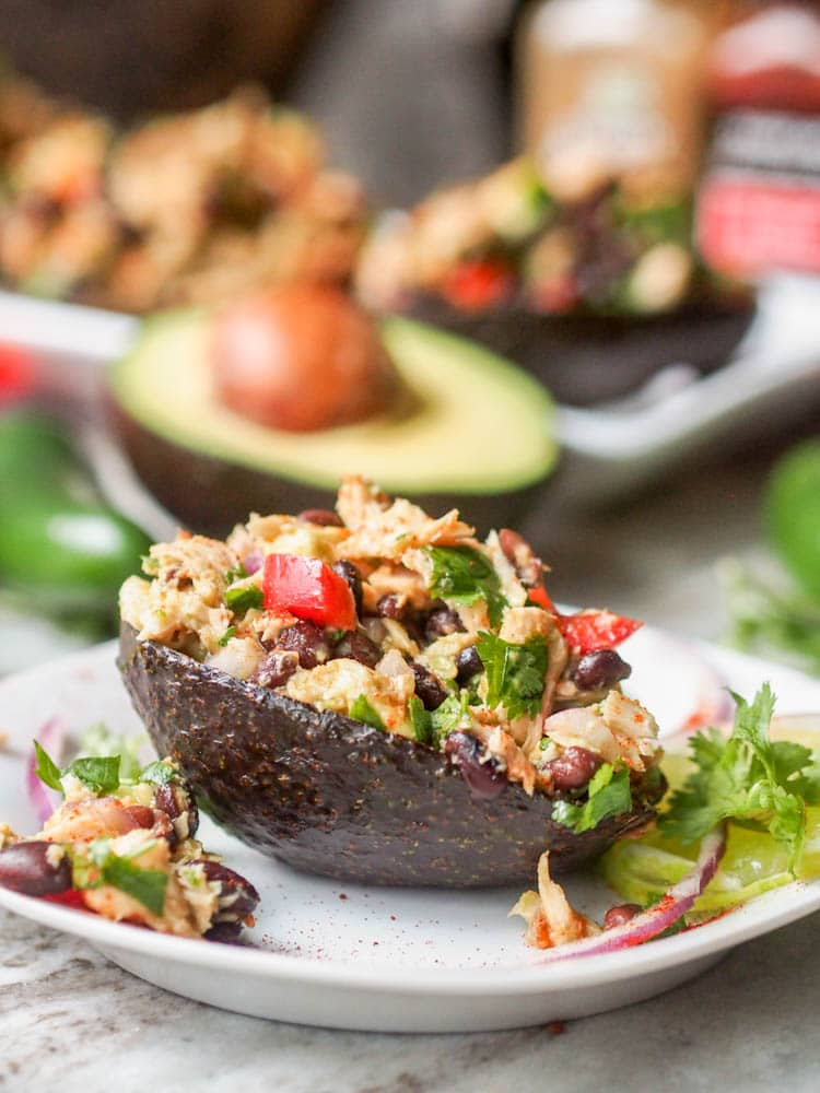 Mexican Tuna Salad served in avocado boats