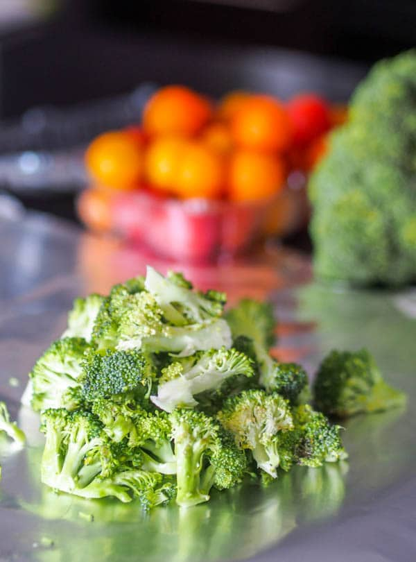Cut up broccoli florets
