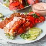 Paprika Broiled Lobster Tails with Sriracha Aioli makes for a delicious and elegant seafood feast. Only a handful of ingredients and ready in 30 minutes. Easier to make than you think! Both gluten free and dairy free too. |avocadopesto.com