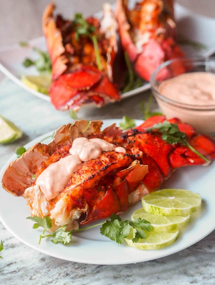 Paprika Broiled Lobster Tail topped with Sriracha Aioli
