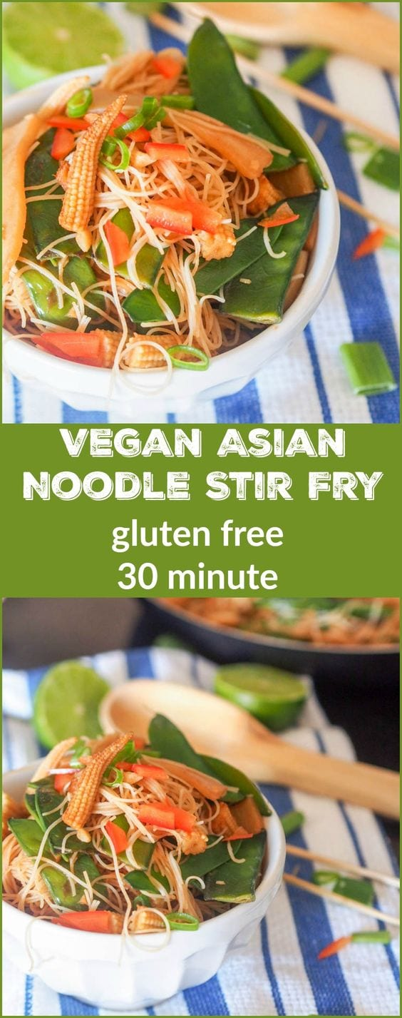 Have dinner on the table in under 30 minutes with this healthy vegan Asian noodle stir fry packed with flavor from baby corn, bamboo shoots and sugar snap peas. A super simple yet delicious meal. Gluten Free.  #vegan #stirfry #glutenfree #noodles #asian
