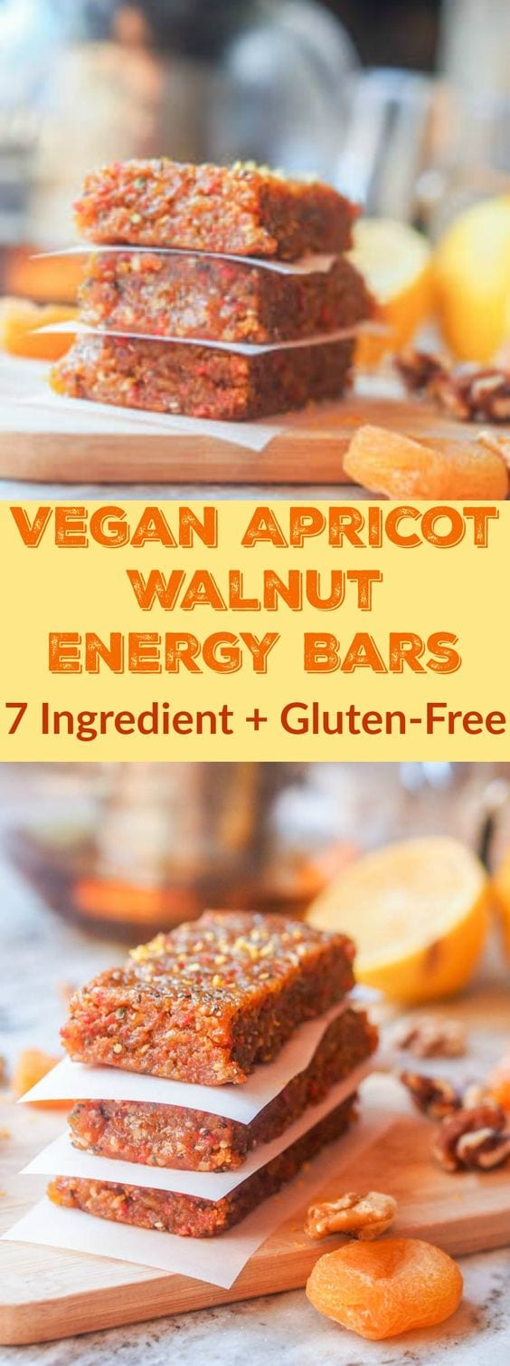Dried Apricot Bars with Walnuts packed full of healthy vitamins and nutrients and made with just 7 ingredients! Perfect for taking with you on the go or as a quick breakfast or afternoon snack. Ready in 20 minutes. #GlutenFree & #Vegan  #snack #energy