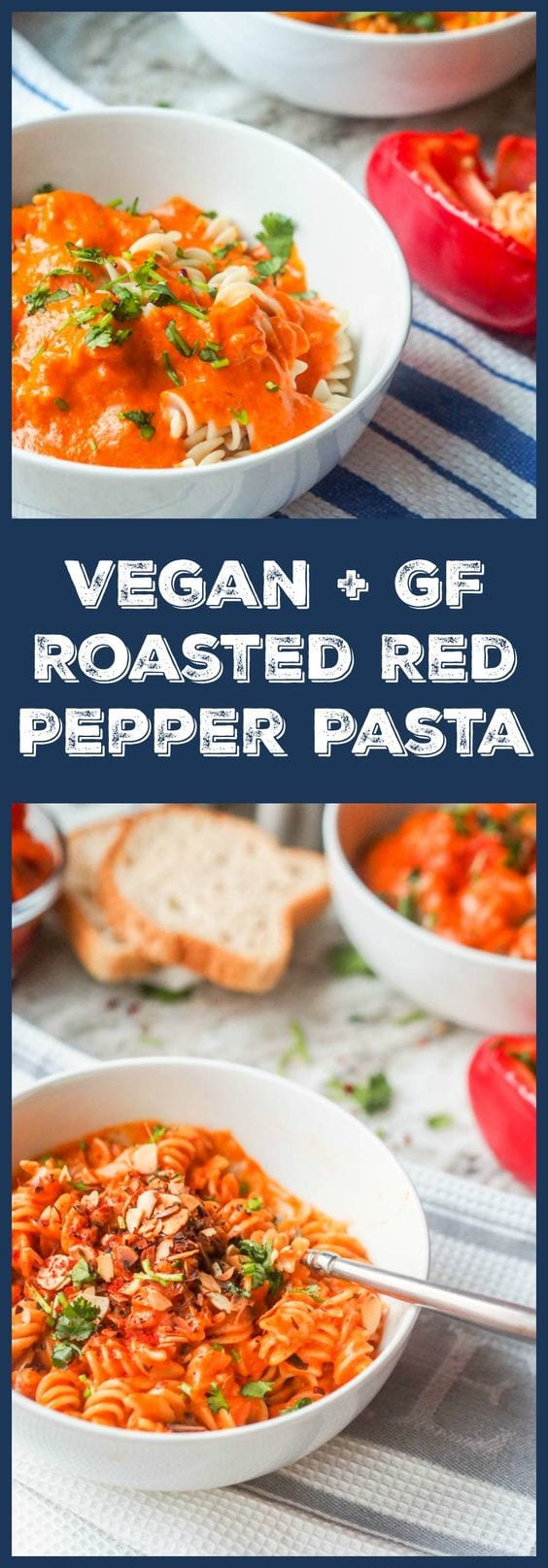 Skip the tomato sauce and make vegan roasted red pepper pasta instead. So creamy and cheesey you'll never know it's vegan. Gluten Free too. Ready in 30 mins. #pasta #dinner #vegan #meatlessmonday