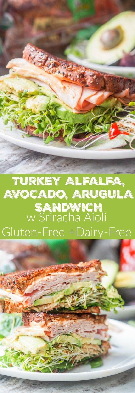 The best turkey, arugula, alfalfa and avocado sandwich you'll ever eat. Topped with a spicy Sriracha Aioli. Boom. Lunch is served. Gluten Free + Dairy Free too. #lunch #sandwich #turkey