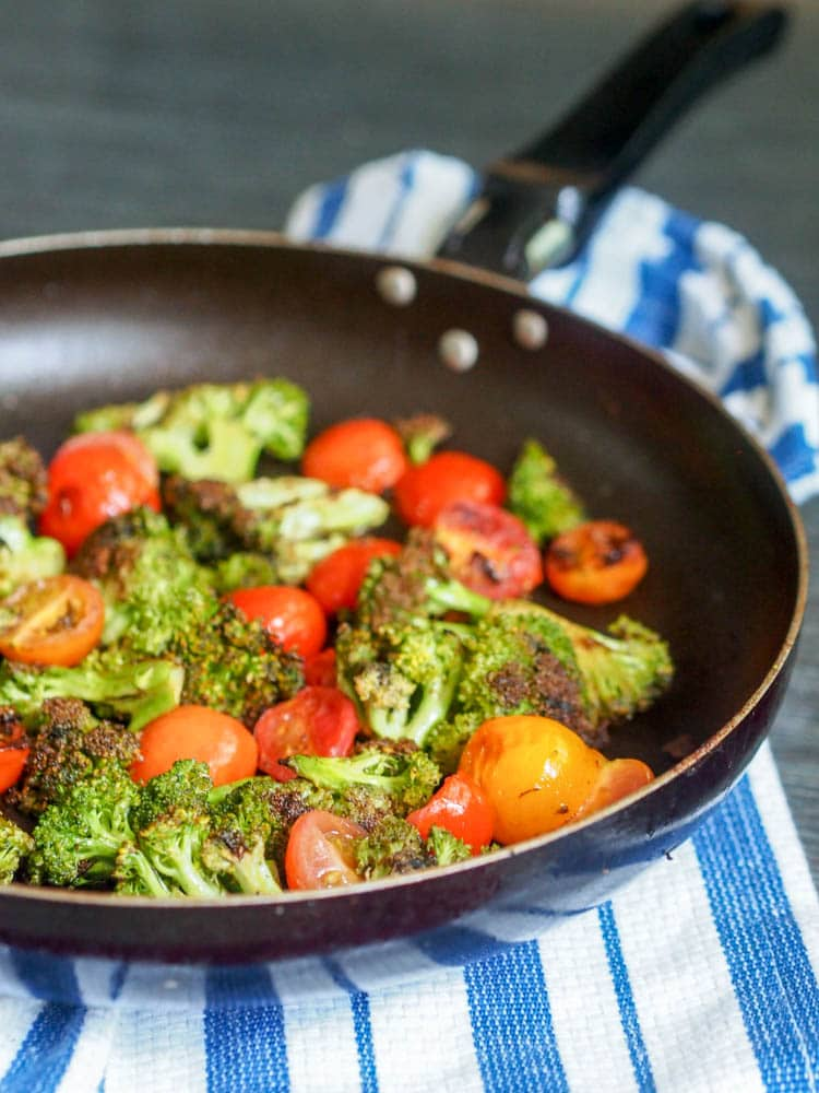 Pan seared broccoli and cherry tomatoes