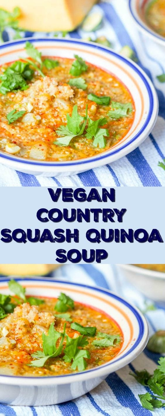 This 30 minute 8 ingredient vegan country squash quinoa soup is the ultimate comforting feel good soup. Filled with grated squash, zucchini and carrots, this makes for a healthy nutritious meal. Great for lunch or dinner. #soup #quinoa #vegan #dinner