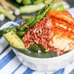 Salmon Rice Bowl with Roasted Red Pepper Sauce {GF, DF} + Giveaway!