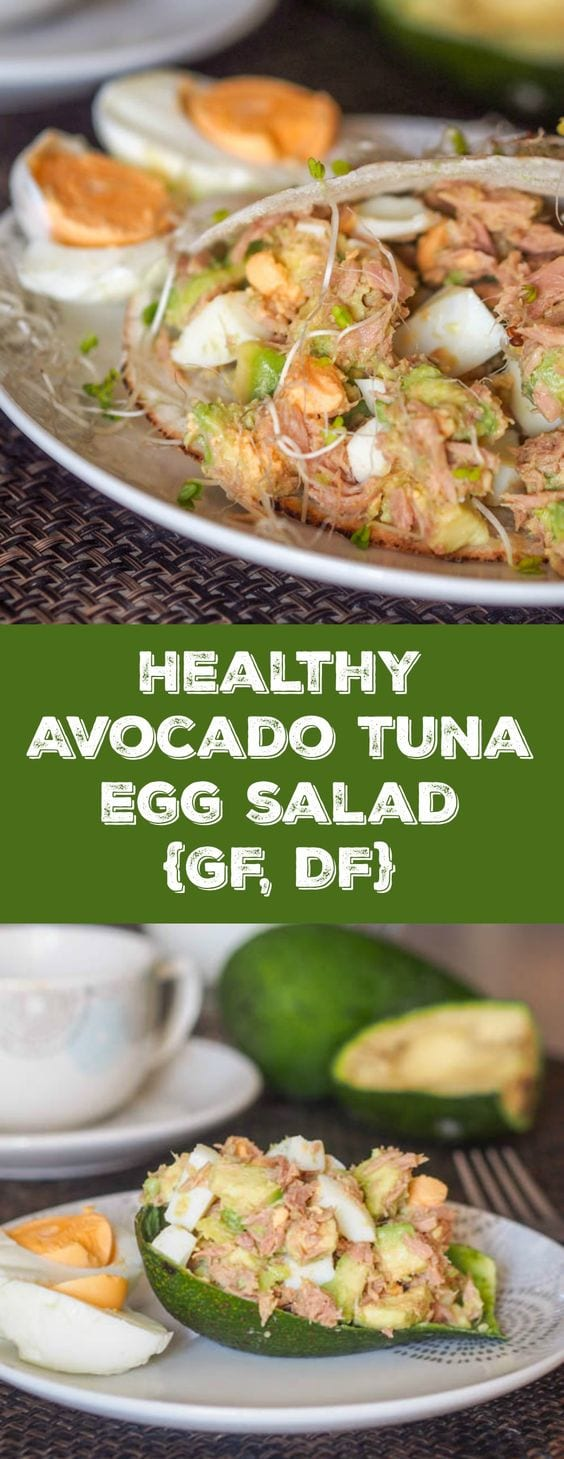 4 ingredient mayo free high protein low carb healthy avocado tuna egg salad. Avocado adds the perfect creaminess to bind everything together. Perfect breakfast or lunch #lunch #salad #avocado #tuna #healthy #lowcarb