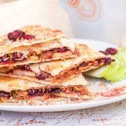 Cranberry, Pistachio and Coconut Vegan Dessert Quesadilla