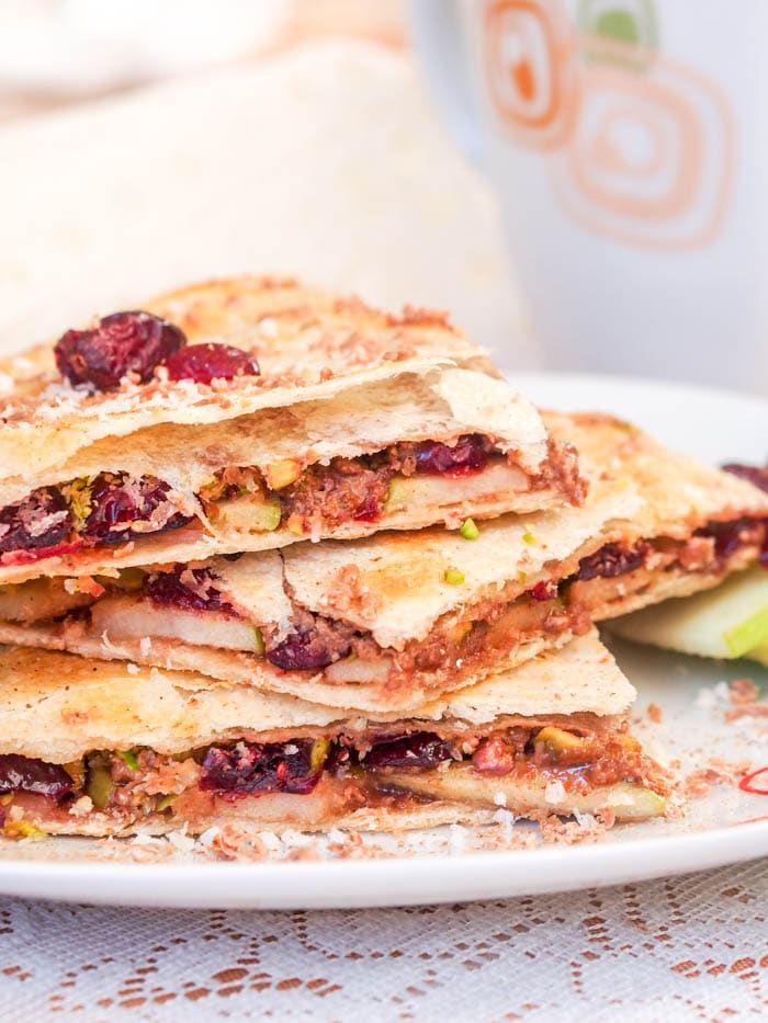 Cranberry, Pistachio and Coconut Vegan Dessert Quesadillas
