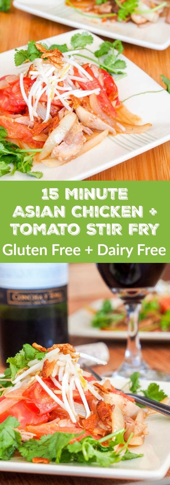 This Asian quick chicken stir fry cooked with ginger, onion and tomatoes comes together in just 15 minutes and is packed full of flavor thanks to a red wine tamari sauce. Perfect homemade takeout or a quick weeknight dinner meal. Healthy, gluten free and dairy free. #dinner #stirfry #asian #chicken #glutenfree