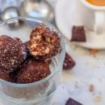 Vegan 5 Minute Chocolate Coconut Balls make for a perfect guilt free quick summer dessert. No baking required or clean up required - made in one pot. A handful of superfood ingredients including chia seeds, sunflower seeds and sesame seeds, along with dark chocolate, dates and peanuts make a perfect healthy sweet treat. Refined sugar free and gluten-free. | avocadopesto.com