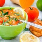 This vegan vegetable soup with cherry tomatoes and chickpeas is the ultimate healthy, hearty and feel good meal. Perfect if you have a cold or are feeling under the weather. Packed full of vitamins and nutrients. A perfect one pot weeknight meatless dinner. Gluten Free too. | avocadopesto.com