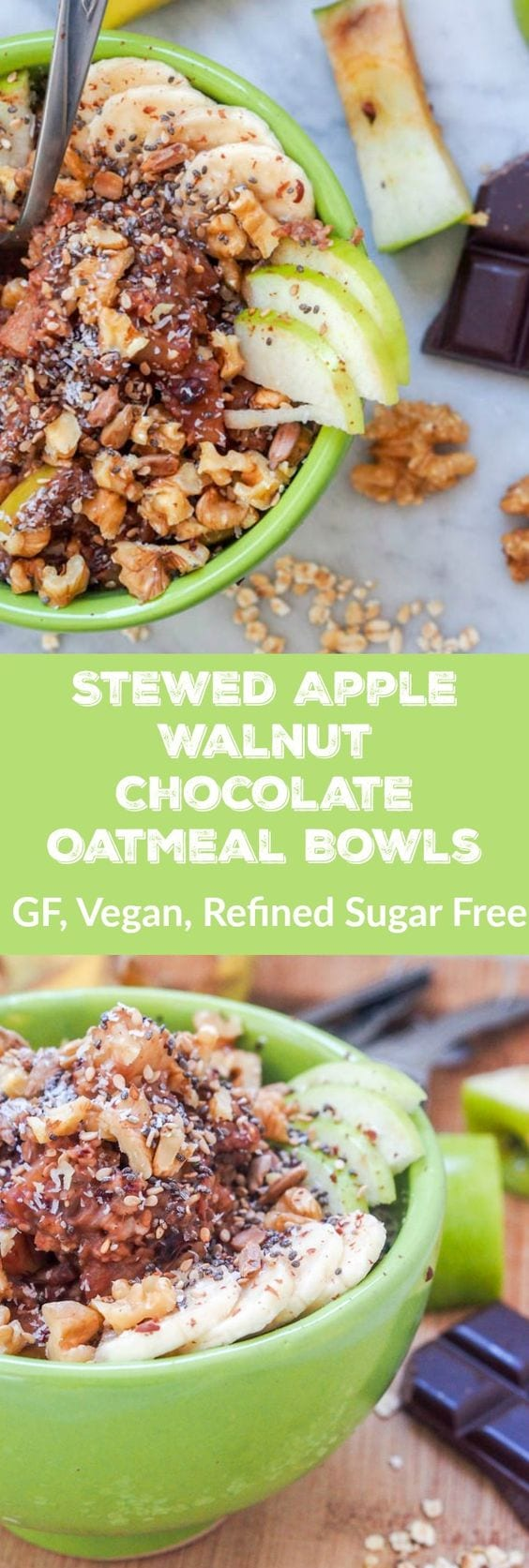 Chocolate Oatmeal with Stewed Apple Walnut is about to be your new favorite power breakfast. Stewed and caramelized diced apples and bananas mixed with oatmeal, chia, sesame, and sunflower seeds for a healthy and delicious sweet breakfast. Naturally sweetened with dark chocolate and topped with crunchy walnuts. GF, Vegan and Refined Sugar Free. 8 g of protein and 11 g of fiber per serving. You might even think you're eating dessert. #breakfast #vegan #oatmeal #healthy #chocolate